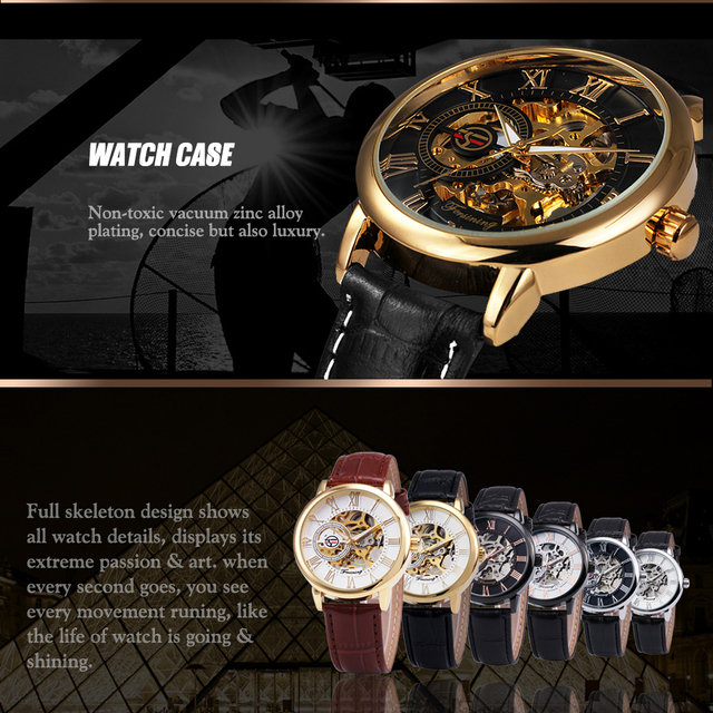 2017 FORSINING 3D Logo Black Gold Men Mechanical Watch Montre Homme Men Watches Top Brand Luxury Leather Skeleton Royal Design