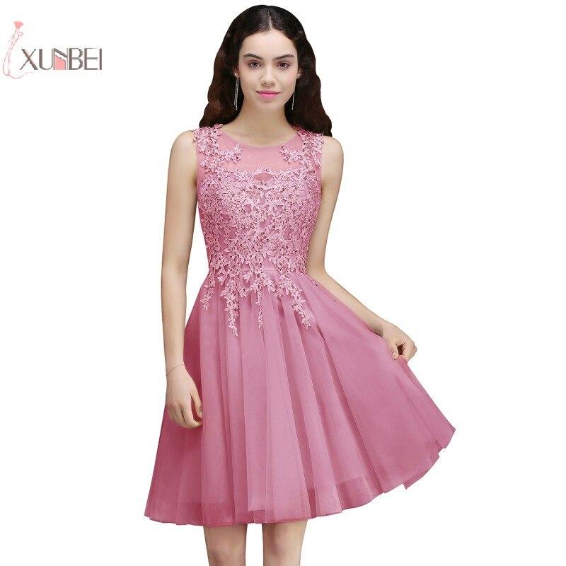 2019 Elegante Scoop Neck Rosa Kurze Prom Kleider Tüll Applique Ärmelloses Abendkleid Party Gala Kleid Neue