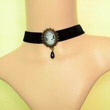 Vintage gótico victoriano camafeo gargantillas Collar Simple cuentas elegantes colgante de gota cinta de Gargantilla Collar Bijoux 3N464
