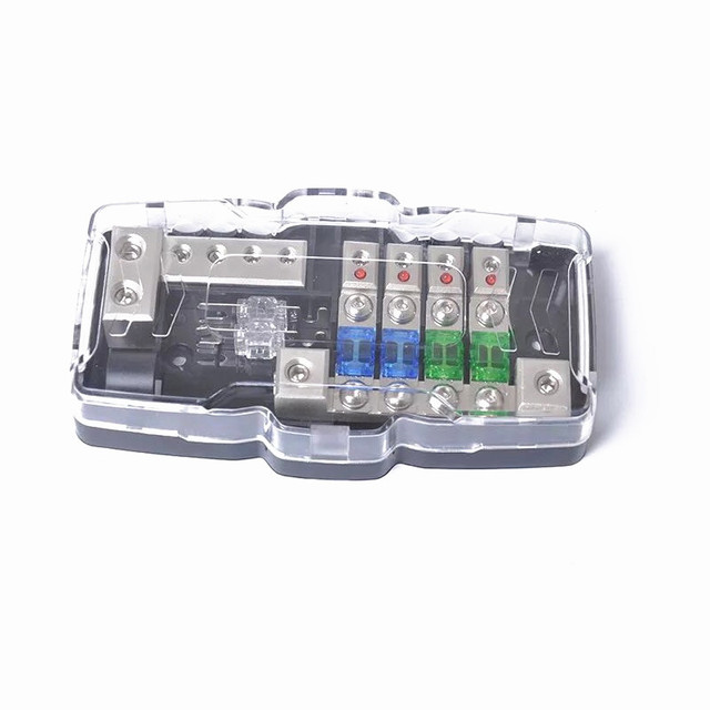 low voltage 12v multi functional led car audio stereo mini anl fuse box  with 4 way fuse block 30a 60a 80amp and distribution box