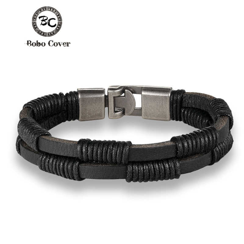 2017 Trendy wristband genuine braided wrap leather bracelets men bangles for women femme pulseira masculina couro mujer
