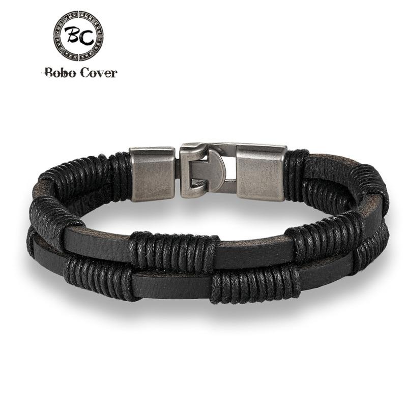 2017 Trendy wristband genuine braided wrap leather bracelets men bangles for