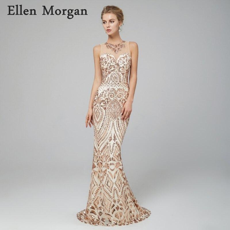 b4f3cd437f4 Elegant Mermaid Evening Dresses 2019 Champagne Sequined Fabric ...