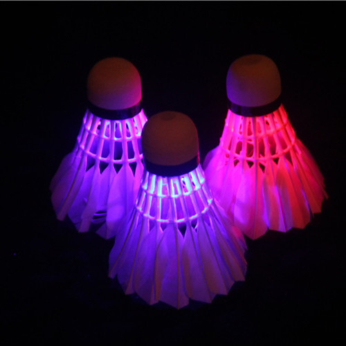 6 Piece Stricken light up badminton  shuttlecock in red and blue color LED glow in dark goose feather shuttlecock