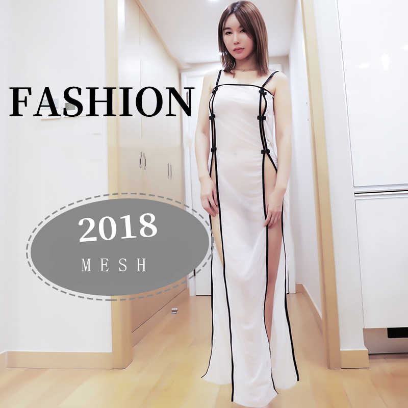 7b31d66a276 ... 2019 New Women Sexy Open Dress Side Slit Erotic Transparent Dresses See  Through Sexy Night Club