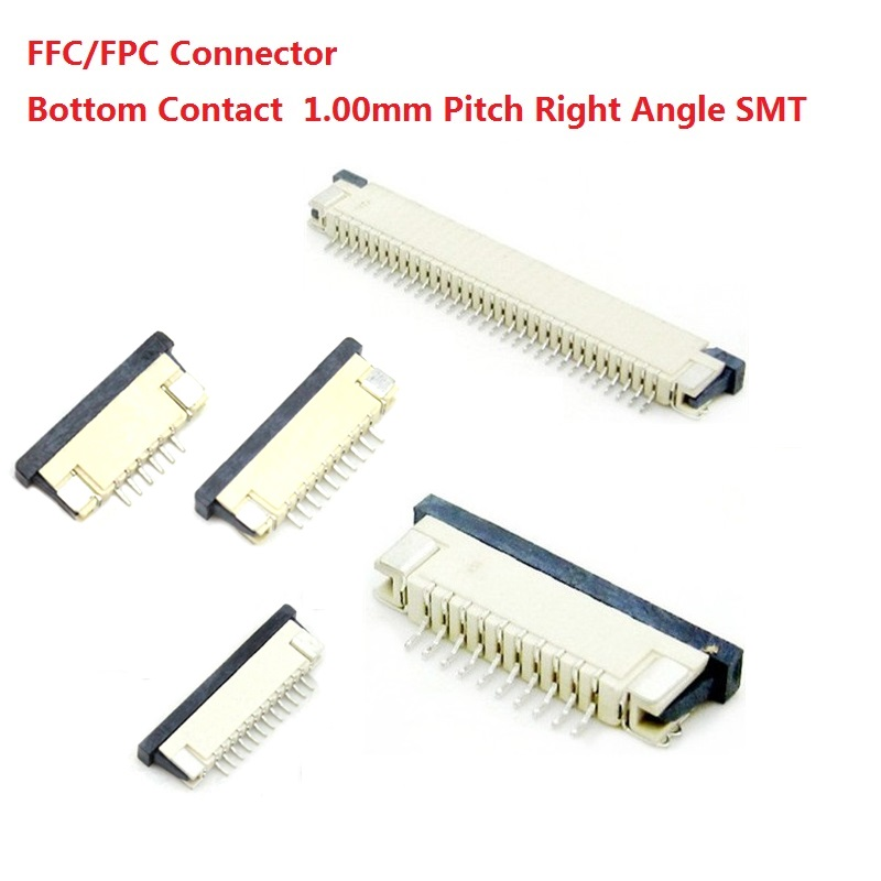 100pcs FFC / FPC connector 1.0 mm 4 Pin 5 6 7 8 10 12 14 16 18 20 22 24 26 18 30 P Bottom Contact Right angle SMD / SMT ZIF 100% 15 18 20 22 24 7 jet 1