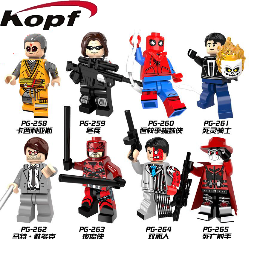 Single Sale Super Heroes Winter Soldier Spiderman Two Face Death Shooter Iker Casillas Building Blocks Children Gift Toys PG8071 building blocks super heroes back to the future doc brown and marty mcfly with skateboard wolverine toys for children gift kf197