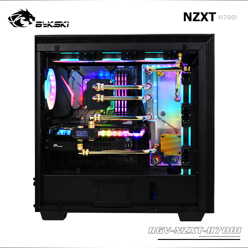 Bykski RGV-NZXT-H700I, Waterway Boards For NZXT H700I Case, RBW 5V Lighting, For Intel CPU Water Block & Single GPU Building