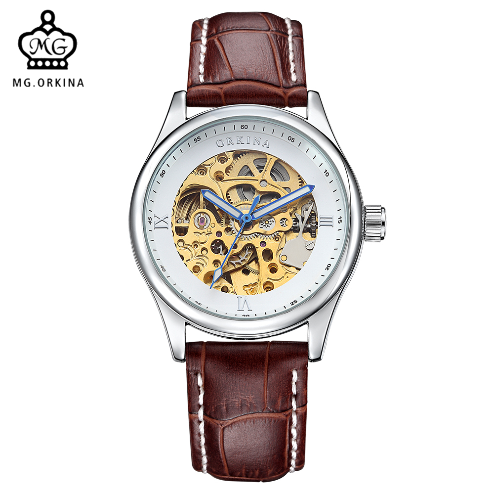 MG. ORKINA Leather Strap Skeleton Watches Mens Top Brand Luxury Auto Mechanical Watch Male Wristwatches Erkek Kol Saati mens mechanical watches top brand luxury watch fashion design black golden watches leather strap skeleton watch with gift box