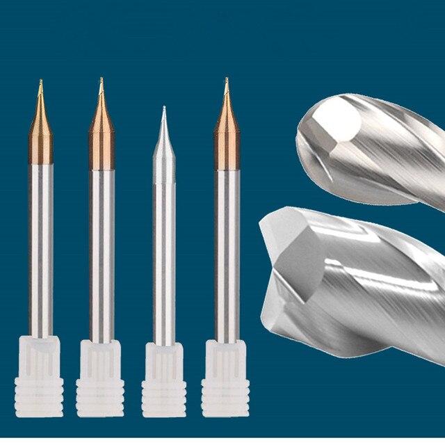 Ensemble de 5 pièces, Micro fin à 2 cannelures recouvertes de TiXCo solide, 55HRC 0.2/0.4/0.5/0.6/0.8/0.9mm de longueur 50MM