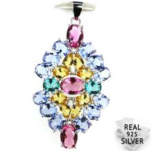 Guaranteed Real 925 Solid Sterling Silver 4.2g Colorful Aquamarins Peridot Tanzanite Tourmaline Pendant 42x23mm
