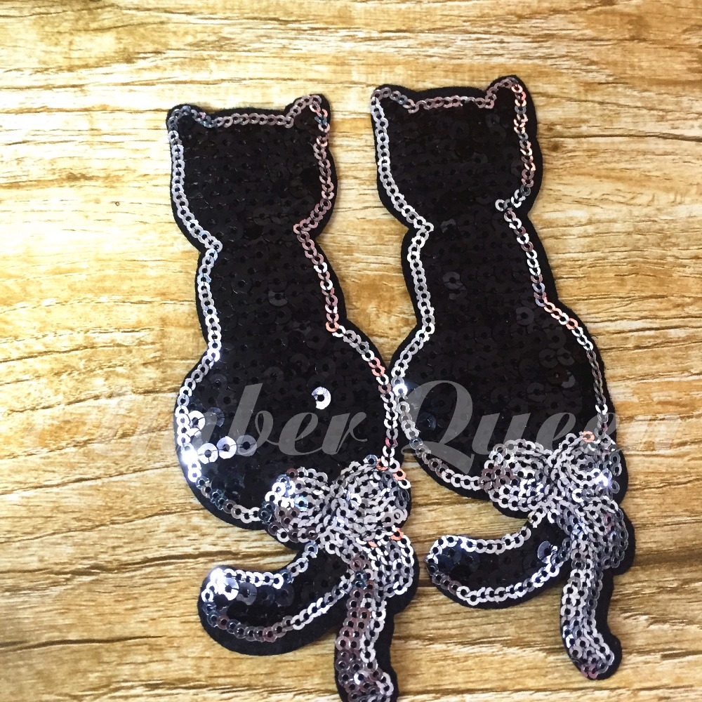 New Arrival Sequin Patches for T shirt Embroidery Black Cat Patch Sew On Dark Magic Cat Back 2pcs 4cats 16LP019 in Patches from Home Garden