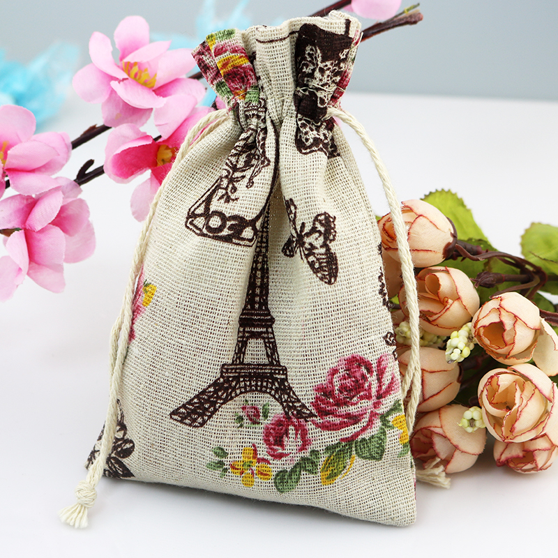 50pcs 10*14cm Tower Design Cotton Bags Candy Gift Bag Drawable Jewelry Pouch Bag Wedding Favors Charms Bracelet Packaging Bags