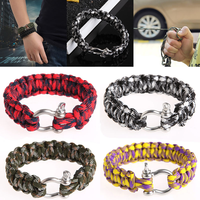 Stainless Steel Buckle Rope Paracord Bracelet Hiking Camping Outdoor Survival First Aid Kits Parachute stainless steel u shaped adjustable 4 hole shackle buckle for paracord bracelet silver 6 pcs
