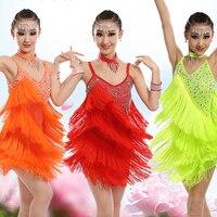 Latin Dance Dress For Girls Red Tassels Fringe Dress Swing Stage Dance Wear Tango Dress Ballroom Competitive Dance Dress BL1659