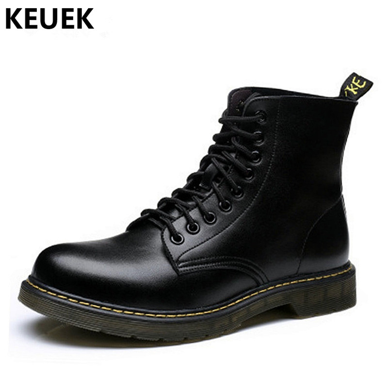 Large Size Men Martin boots Lace-Up Genuine leather Ankle Motorcycle boots British style Male shoes outdoor Desert Boots 3A fashion men s shoes yellow black brown europe style genuine leather male martin boots large size 45 casual flats huarche boty