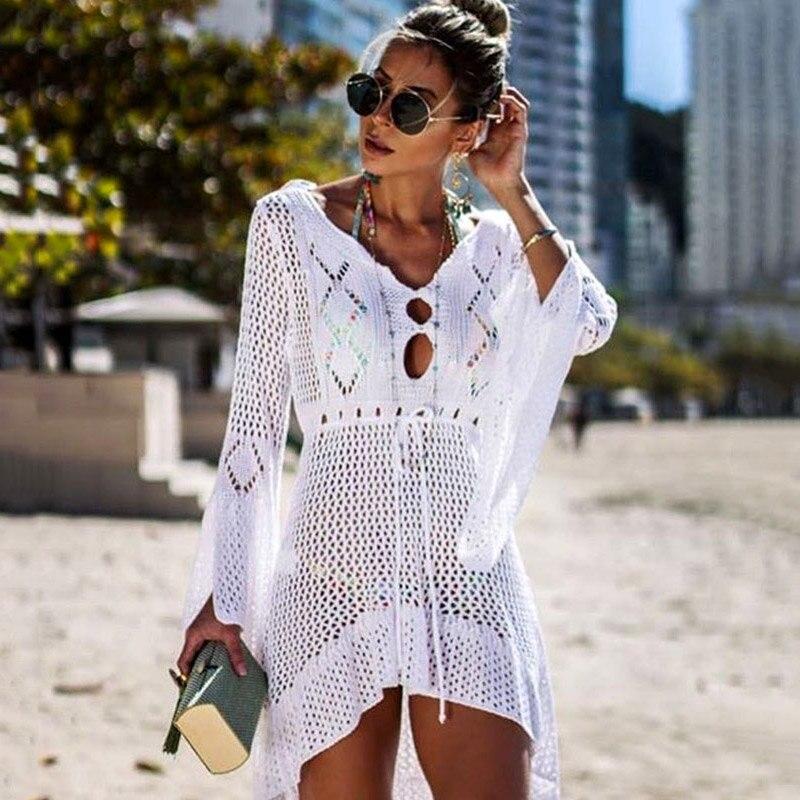 8fe75099dd68 Bikini Sexy playa cubierta Up traje de baño mujeres Crochet cubierta hasta  la playa vestido túnica ...
