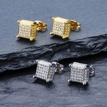 New Copper Zircon-Encrusted Square Atmosphere Studs Earrings Hipster Men Women Hip Hop Fashion Jewelry Pave CZ Big Cube Shape