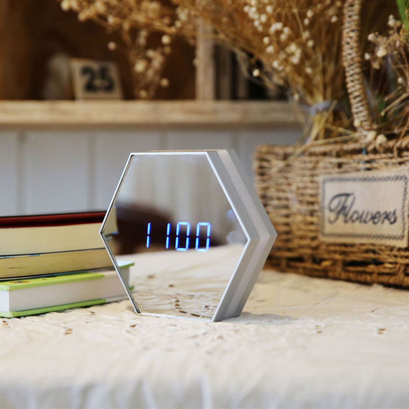 LED Alarm Clock Digital Electronic LED Mirror Table Clock Multifunction Temperature Snooze Desk Watch Adjust the Brightness