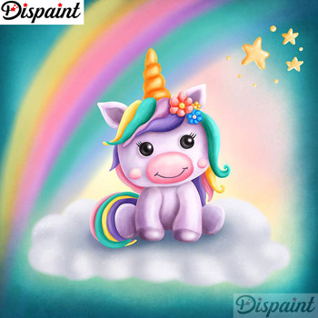 "Dispaint ""Color unicorn"" Diamond Painting 5D Full Square/Round Drill Home Decor DIY Diamond Embroidery Cross Stitch A21161"