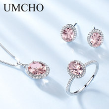 UMCHO  Created Pink Sapphire Jewelry Sets Elegant 925 Sterling Silver Necklaces Rings Earrings For Women Wedding Gifts