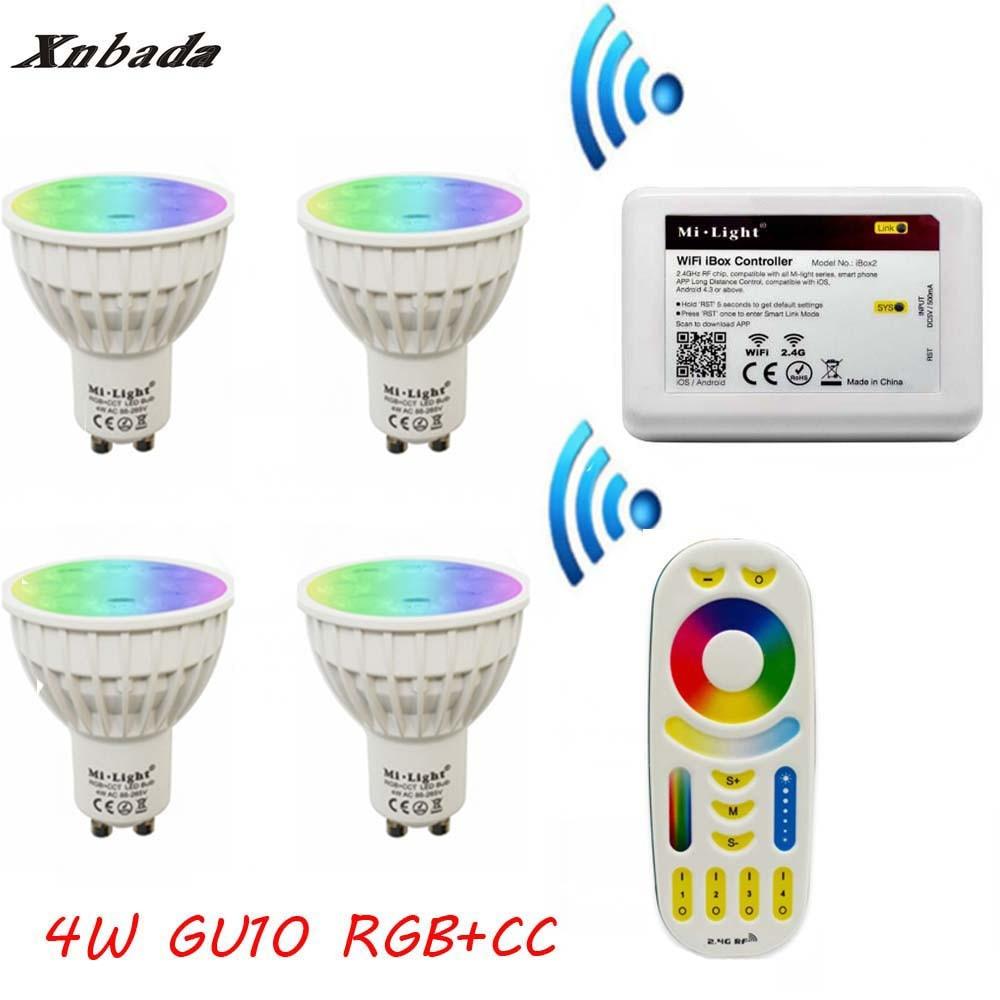 MiLight Gu10 4 W Led Lampe RGB + CCT + À Distance + IBX2 RF À Distance Wifi led ampoule Led Spotlight lumière Led lumière AC85-265V Livraison gratuite