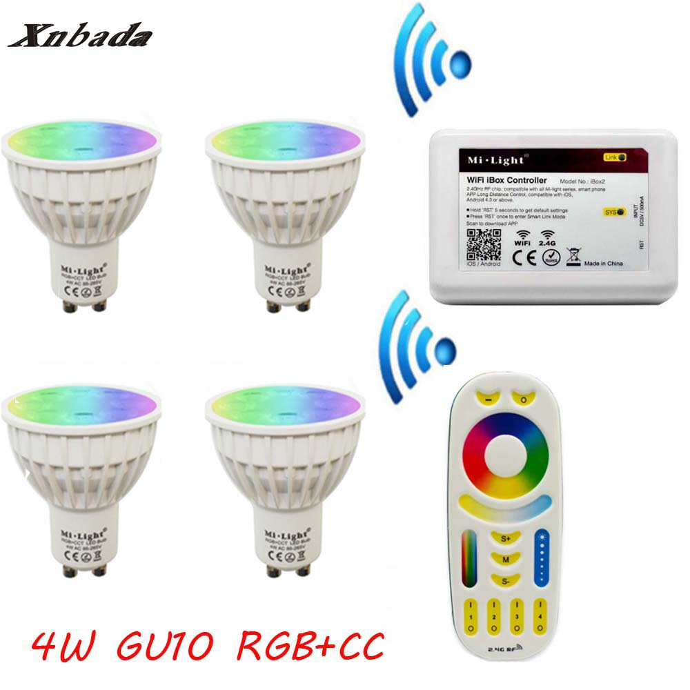 MiLight Gu10 4W Led Lamp RGB+CCT+Remote+IBX2 RF Remote Wifi led bulb Led Spotlight light Led light AC85-265V Free shipping dimmable gu10 led milight 4w ac 110v 220v 85 265v mi light led bulb lamp rgbw rgbww spotlight 2 4g wifi remote controller