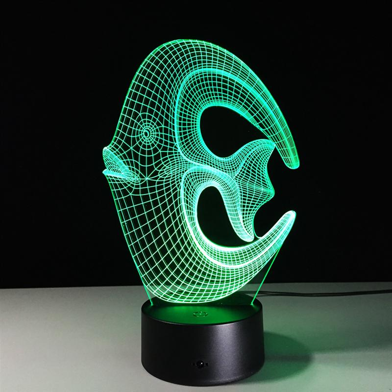 3D Lamp Visual Light Effect Touch Switch & Remote Control Colors Changes Night Light (Coral Fish)
