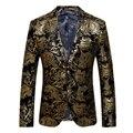 Золотой Пиджак Мужчины Цветочный Вскользь Уменьшают Пиджаки Мода Мужской пиджаки мужской Пиджак Плюс Размер Нового Прибытия Свадебное платье Гент жизнь