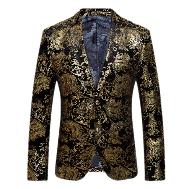 Gold Blazer Men Floral Casual Slim Blazers Fashion Male blazers Men Suit Jacket Plus Size New Arrival Wedding dress Gent Life