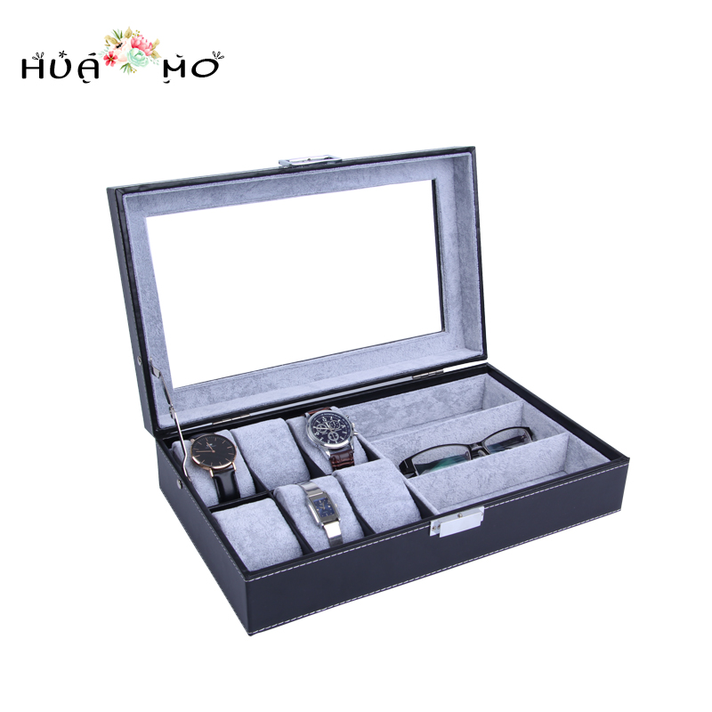 Jewelry Gift Box Jewelry Glasses Watches Organizer Leather Watch Display Box Jewelry Packaging & Display Accessories Supplies ebaycoco luxurious red jewelry accessories packaging black red matte 10table box jewelry box fashion display full box watch