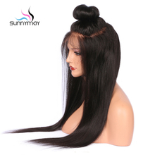 Sunnymay Straight Full Lace Human Hair Wigs Pre Plucked Brazilian Remy Hair Wigs For Black Women With Baby Hair 130% Density