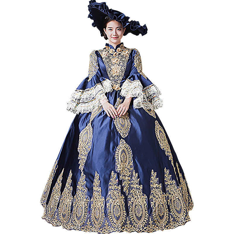 42264a78a7c Dark Blue Gothic Victorian Dress Period Rococo Belle Dresses Plus Size