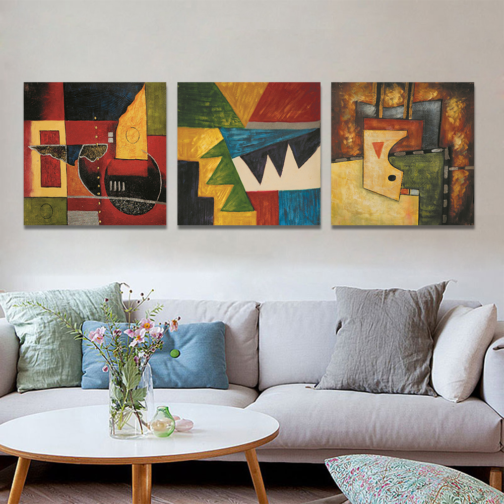 Unframed 3 pairs Abstract Canvas Painting Graphic Splice Wall Art Decor Prints Wall Pictures For Living Room Wall Art Decoration