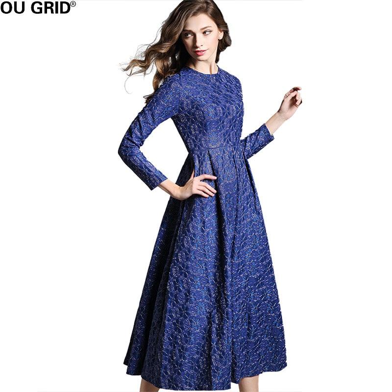 Vestido de fiesta largo de primavera para mujer vestido Formal de Jacquard de flores sólidas elegante de manga larga y Vestidos de mujer nuevos Vestidos-in Vestidos from Ropa de mujer    3