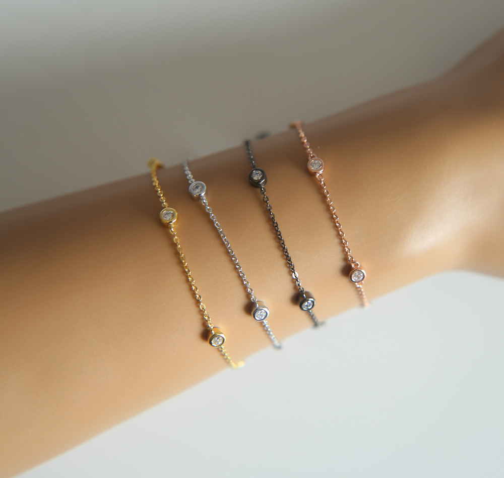 2017 100% 925 sterling silver jewelry factory promotion wholesale 3mm bezel cz link simple dainty elegant girl women bracelets