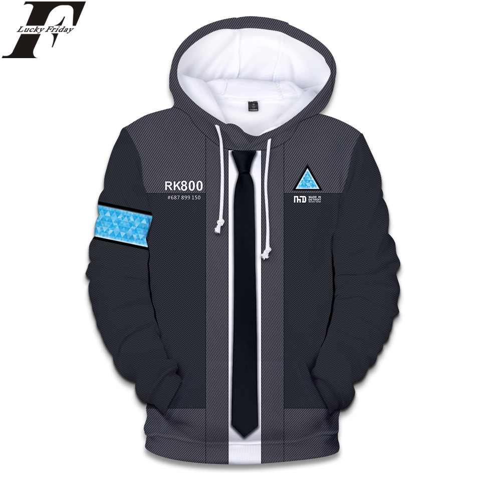 LUCKYFRIDAYF 2018 Detroit Become Human 3D Hoodies Sweatshirt RX800 Uniform Women/Men Regular Hoodies Style Hoodies Clothes