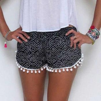 KLV High Quality Beach Shorts Women Polka Dot High Waist Tassel Shorts Summer 1 pc Short Pants New Шорты