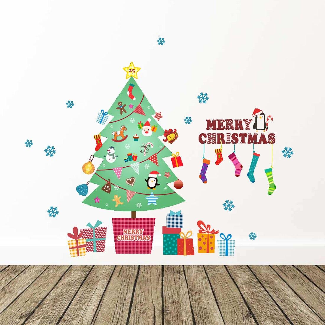 Good Xmas tree Wall Stickers 2018 Happy New Year Merry Christmas Wall Sticker Xmas Home Shop Windows Decals Decor