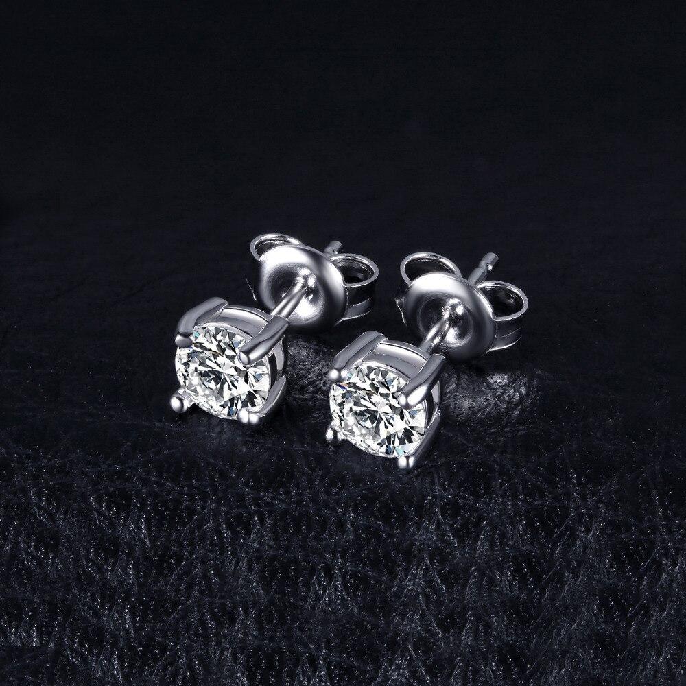 Dəyirmi 1ct Simulyasiya edilmiş Diamond CZ Stud Sırğalar 925 - Gözəl zərgərlik - Fotoqrafiya 3