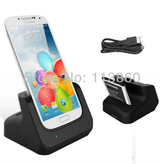 Free Shipping Dual USB Sync Phone Charger Battery Charging Dock Cradle Docking Holder for Samsung Galaxy S4 IV i9500 i9505