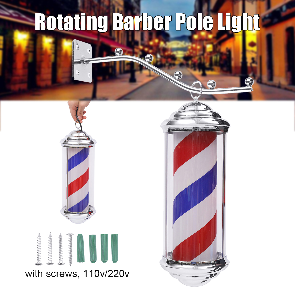 1Pc 35*15*15cm Metal Barber Shop Light Red White Blue Stripes Rotating LED Light Hairdressing Salon Outdoor Sign With 1.5m Cord-in Styling Accessories from Beauty & Health    1