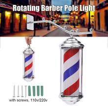 a4463f6cc 1 pieza 35*15*15 cm Metal barbería tienda luz rojo blanco azul rayas  giratorias luz LED peluquería cartel de Salón al aire libre.