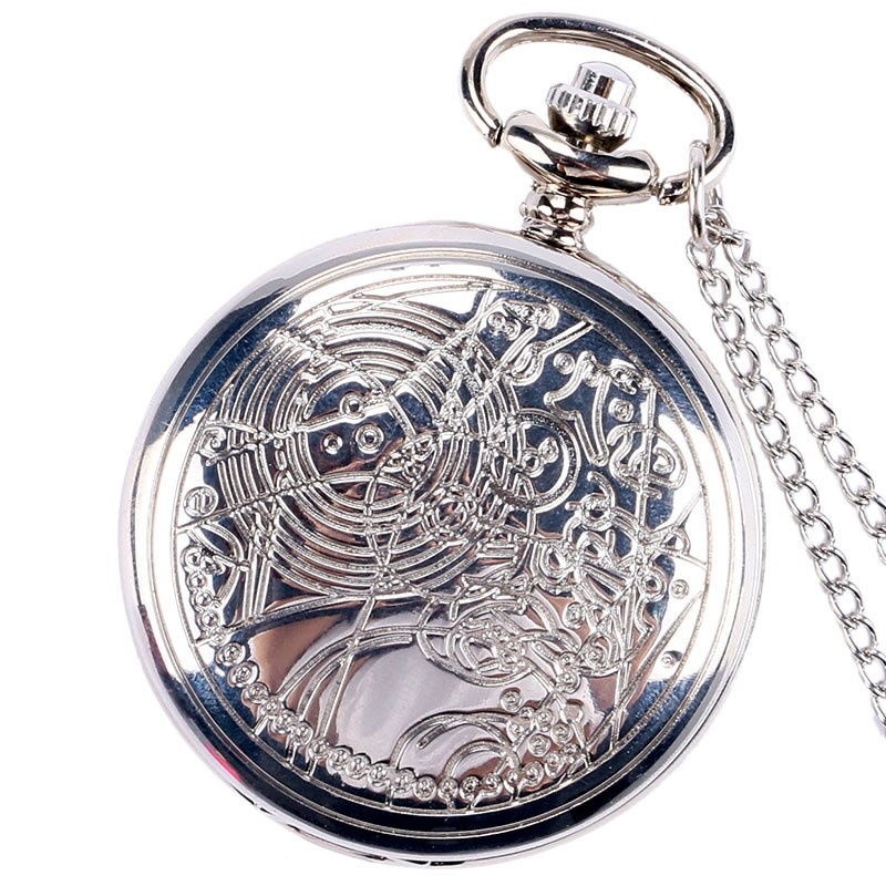 Hot Sale Silver Doctor Who Theme Quartz Pocket Watch Retro High Quality Fob Watch With Chain Necklace For Gift For Pocket Watch