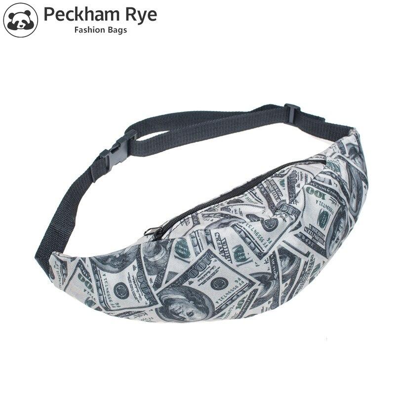 20 Colros Unisex Fashion DIY 3D US Dollar Printed Men Fanny Pack Money Waist Bags Women Messenger Bag Belt Bag Men Sac De Taille