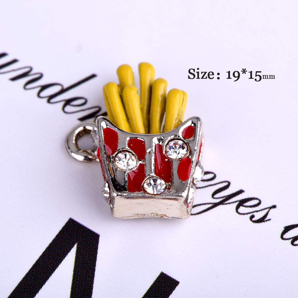 Fries Charms With Clear Rhinestone Alloy Charms for Jewelry Making for Necklace Bracelet Earring Charms Lot Best Party DIY Gift