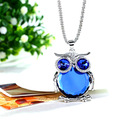 Austrian Crystal Jewelry New Fashion Owl Pendant Sweater Chain Necklace 2016 Korea Style Luxury Animal Long