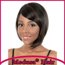 Medusa hair products: Sassy bob styles Synthetic african american wigs Medium Length Mix color Afro wig with bangs SW0188