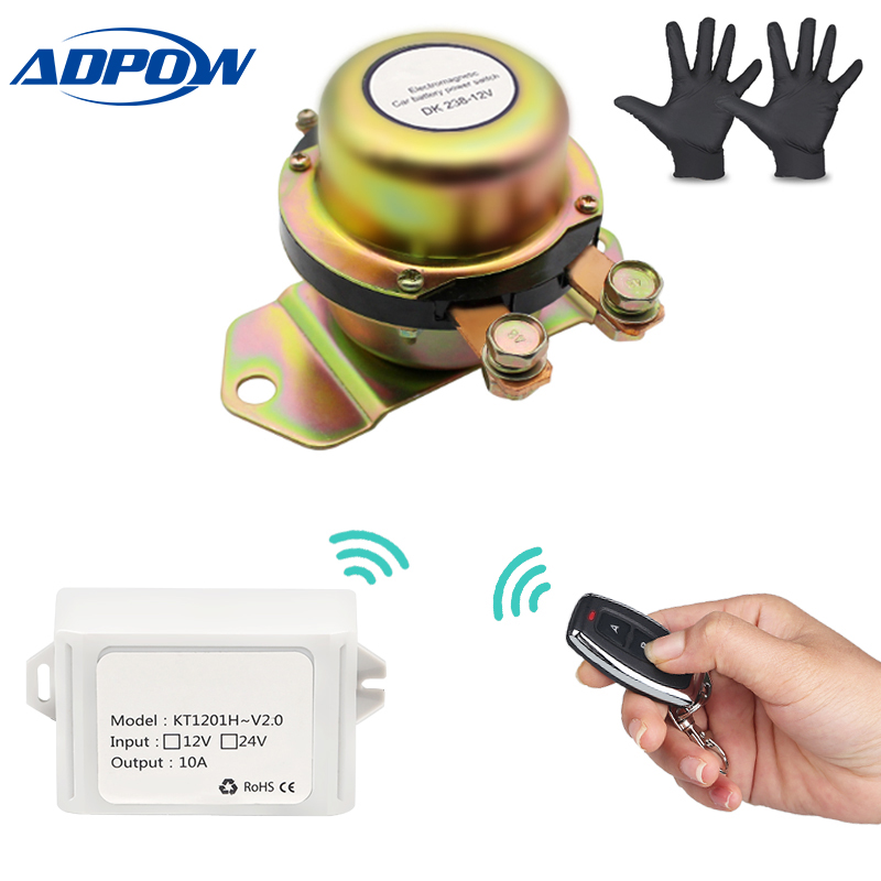 ADPOW Remote Control 12V Solenoid Car Battery Switch Disconnect Latching Relay Battery Isolator Cut Off Vehicle Auto + Gloves