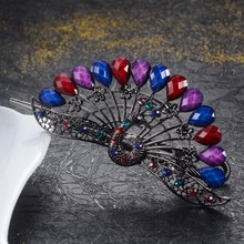 Vivid Big Peacock Hair Clip Wedding Hair Accessories Colorful Rhinestone Resin Crystal Barrettes Metal Hairpin Hair Jewelry Gift colorful classical peacock wooden hairpin
